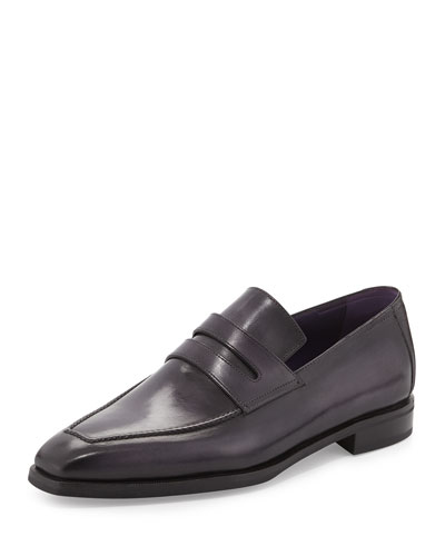 Andy Leather Penny Loafer, Black