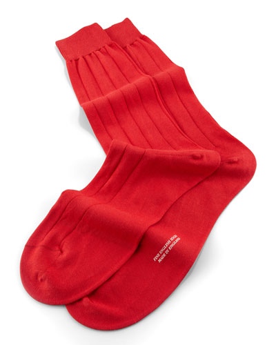 Mid-Calf Solid Sea Island Ribbed Socks, Scarlet