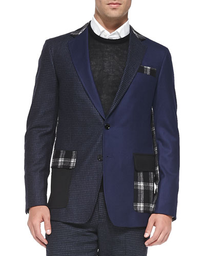 Patchwork Two-Button Jacket, Navy