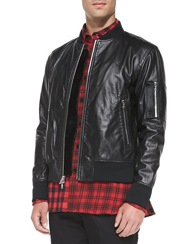 Leather Bomber Jacket with Calf Hair, Black