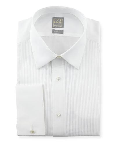 Pleated Tuxedo Shirt, White