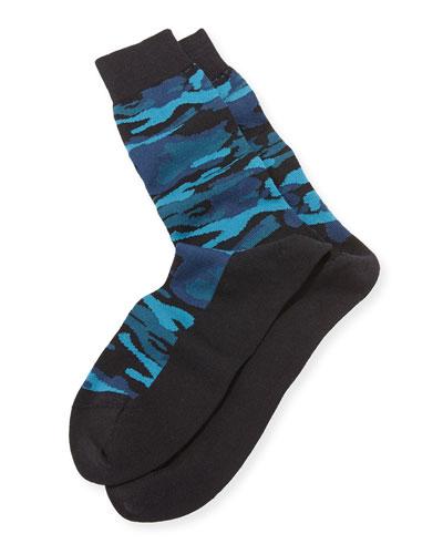 Camo-Print Socks, Navy