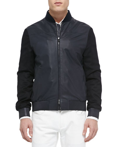 Smooth and Suede Lambskin Bomber Jacket, Blue Navy