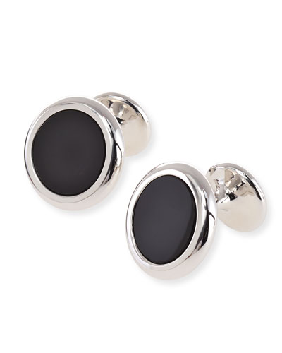 Monolith Sterling Silver Onyx Cuff Links