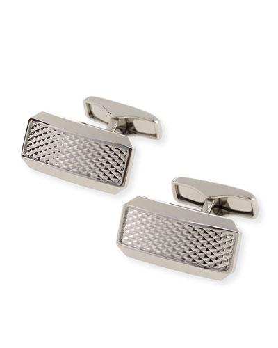 Avorities Clip Diamond-Pattern Cuff Links