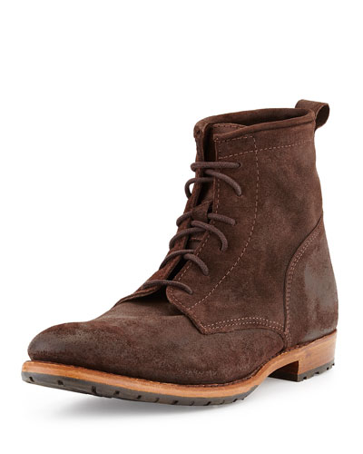 Rutherford Suede Lace-Up Boot, Dark Brown