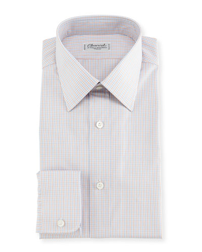 Madras Plaid Dress Shirt, Blue/Orange