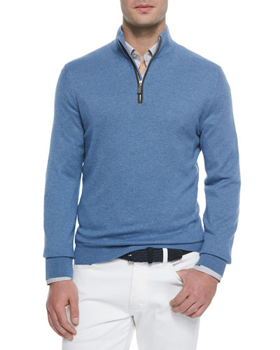 Cashmere-Blend Quarter-Zip Pullover, Blue