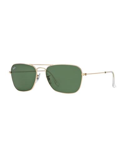 Navigator Sunglasses, Gold/Green