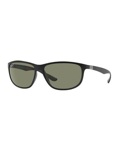 Rectangular Full-Rim Sunglasses, Matte Black