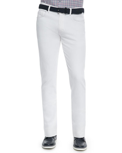 Slim Fit Five-Pocket Denim Jeans, White
