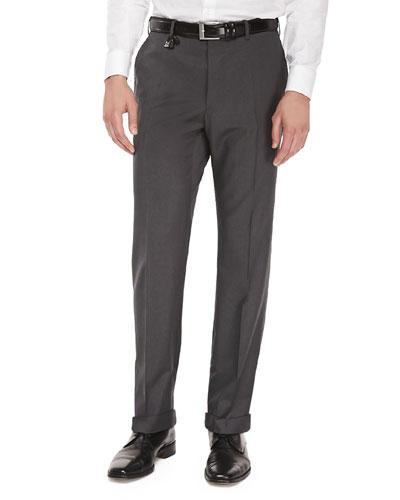 Benson Wool Trousers, Melange Gray