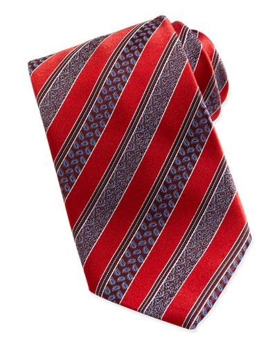 Woven Satin-Paisley-Stripe Tie, Red
