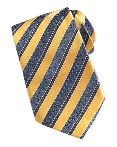 Woven Satin-Paisley-Stripe Tie, Yellow