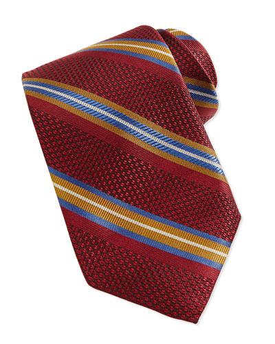 Grenadine Stripe Tie, Ruby