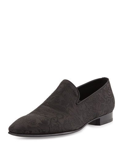 Brocade Slip-On Loafer, Black