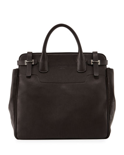 North-South Runway Leather Tote Bag, Dark Gray
