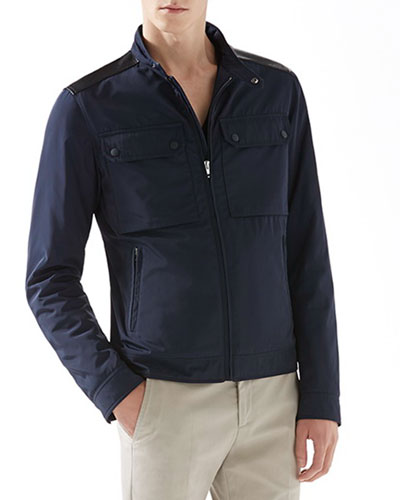Padded Motorcycle Jacket with Leather Details