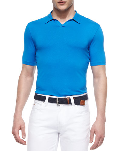 Johnny-Collar Short-Sleeve Polo Shirt, Turquoise