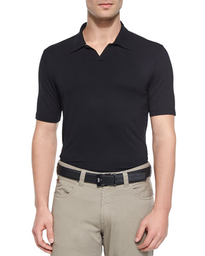 Solid Short-Sleeve Polo Shirt, Black