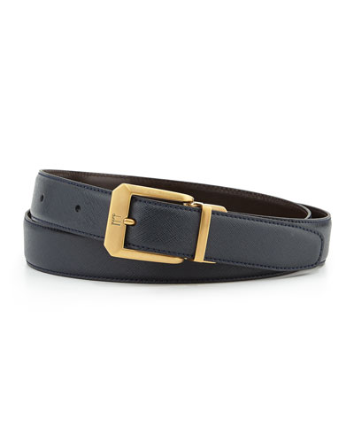 Reversible Belt with 18k Gold-Plate Buckle