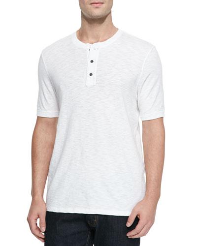 Basic Slub Short-Sleeve Henley, White