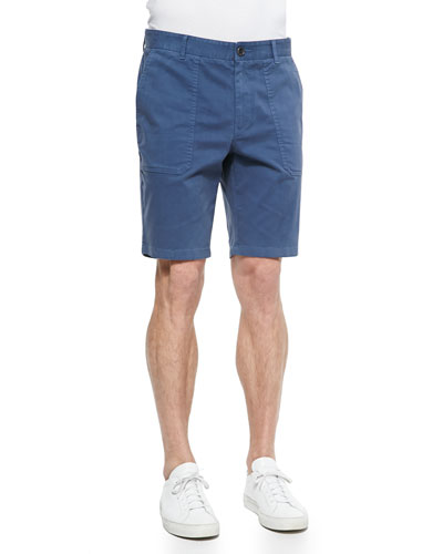 Brushed Twill Patch Shorts, Blue