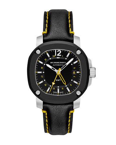 43mm Automatic Watch with Yellow Accents