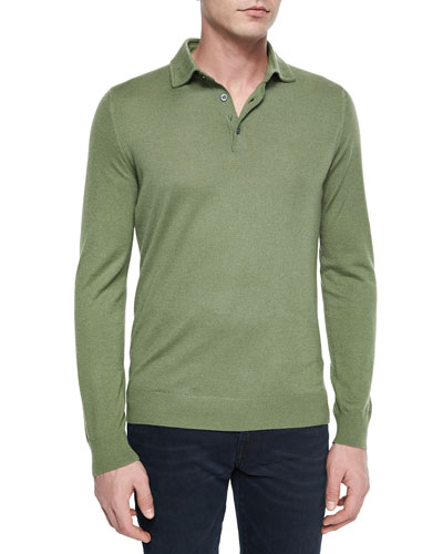 Long-Sleeve Cashmere Polo Sweater, Green