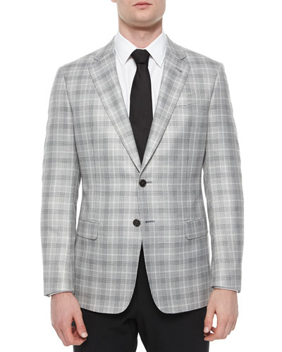 G-Line Plaid Two-Button Jacket, Black/Silver