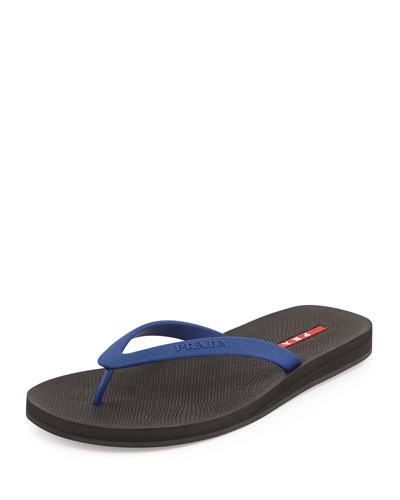 Rubber Flip Flop, Blue/Black
