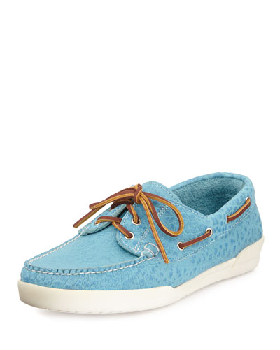 Men's USA Bison Boat Shoe, Aquamarine