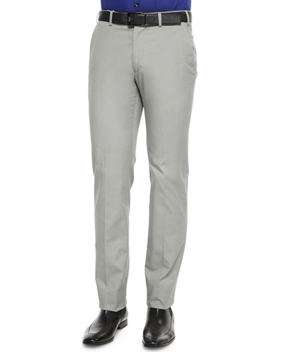 Stretch-Cotton Flat Front Trousers, Dark Gray