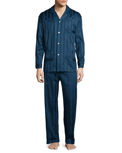 Tonal-Striped Cotton Pajama Set, Navy