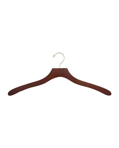 "17"" Wooden Shirt Hangers, Traditional Finish, Set of 5"