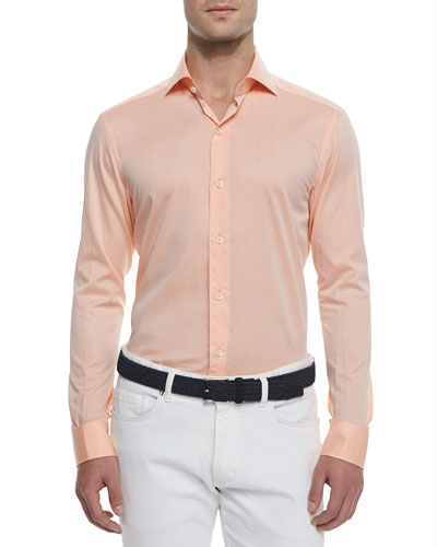 Woven Solid Sport Shirt, Orange