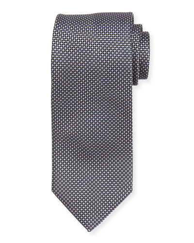 Mini Diagonal Check Silk Tie, Grey/Black