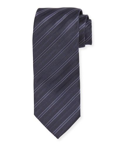 Narrow Stripe Silk Tie, Grey/Navy