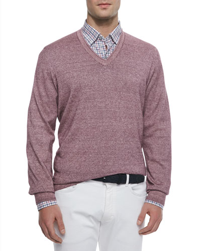 Garment-Dyed V-Neck Sweater, Purple