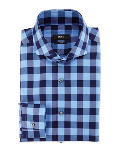 Slim Fit Large-Check Dress Shirt, Navy/Bright Blue