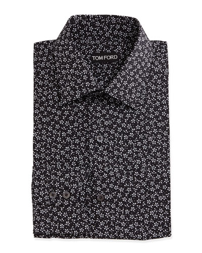 Mini-Floral Print Shirt, Black/White