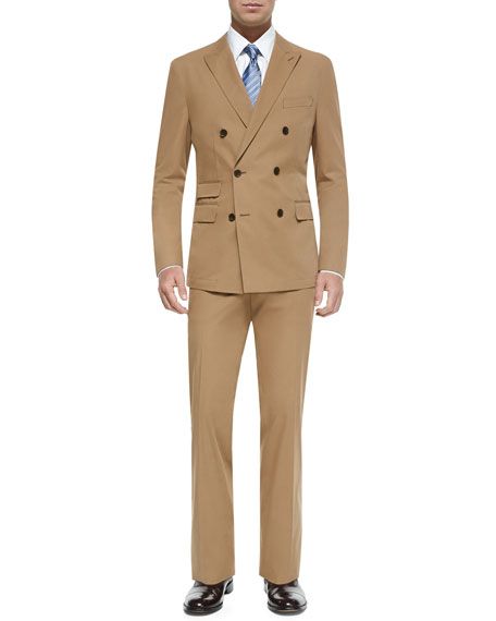054b89bcb479 Boss Hugo Boss Double-Breasted Cotton Suit, Tobacco