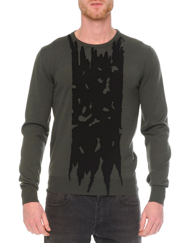 Printed Crew Neck Sweater, Green