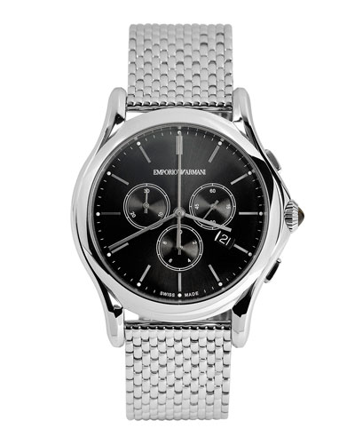 GMT Stainless Steel Chronograph Watch with Maille Bracelet