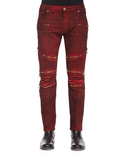 Dusty Road Coated Moto Denim Jeans, Red