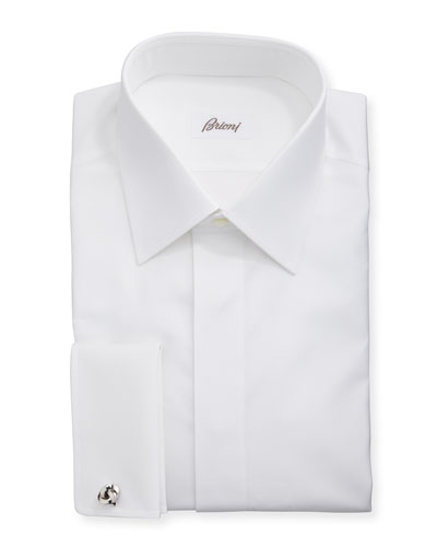 Formal Covered Placket Dress Shirt, White