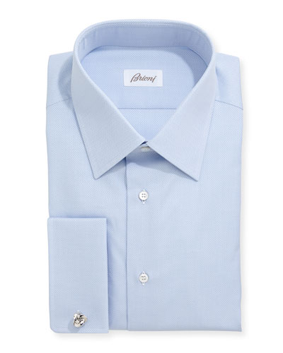 Honeycomb Woven Dress Shirt, Blue