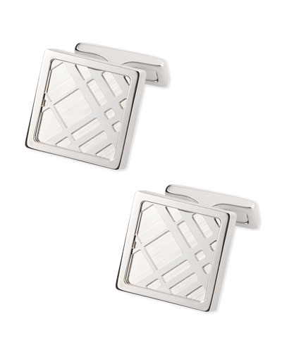 Square Check Cuff Links, Silvertone