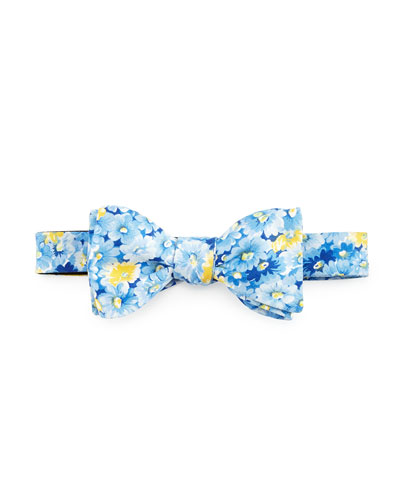 Floral-Print Cotton Bow Tie, Blue