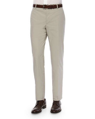 Flat-Front Cotton Trousers, Tan